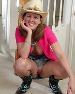 Mature cowgirl Deliliah Stevenson shows off her ass.y